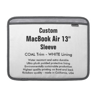 """Custom 13"""" MacBook Air Sleeve (H) Coal & White"""