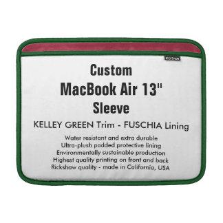 "Custom 13"" MacBook Air Sleeve (H) Green & Fuschia"