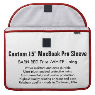 "Custom 15"" MacBook Pro Sleeve - Barn Red & White"