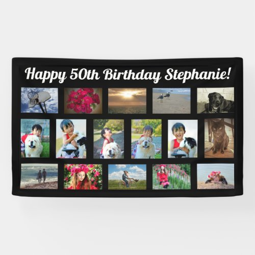 Custom 16 Photo Collage Birthday Party Banner