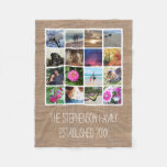 Custom 16 Photo Collage Burlap-Look Mosaic Picture Fleece Blanket