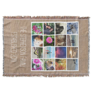 Custom 16 Photo Collage Burlap-Look Mosaic Picture Throw Blanket