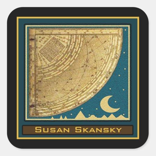 Custom 1775 Astrolabe Quadrant Bookplate Square Stickers