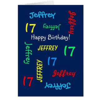 Custom 17th Birthday Card Any Name, Blue, Teenager