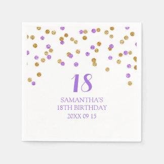 Custom 18th Birthday Napkin Gold Purple Confetti