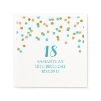 Custom 18th Birthday Napkin Gold Tuquoise Confetti