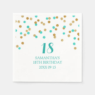 Custom 18th Birthday Napkin Gold Tuquoise Confetti