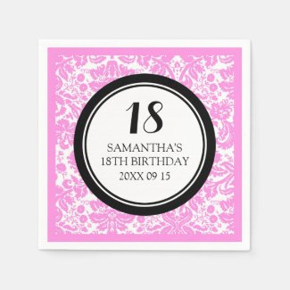 Custom 18th Birthday Napkin Pink Black Damask