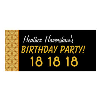 Custom 18th Birthday or Any Year Gold Stars Poster
