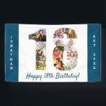 "Custom 18th Birthday Party Photo Collage Banner<br><div class=""desc"">Create your own photo collage banner for a 18th Birthday Party. The template is set up for you to add your custom name or wording and your favorite photos. Your photos will automatically appear as a photo collage in the shape of the number 18. The banner has ocean blue borders...</div>"