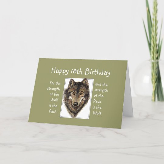 Custom 18th Birthday Wolf Pack Family Quote Card