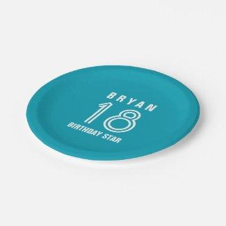 Custom 18th Year Birthday Custom Color V14M Paper Plate