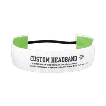 """USA Themed Custom 1.5"""" Non-slip Grosgrain LIME GREEN Headband"""