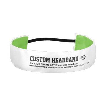 "USA Themed Custom 1.5"" Non-slip Satin LIME GREEN Headband"