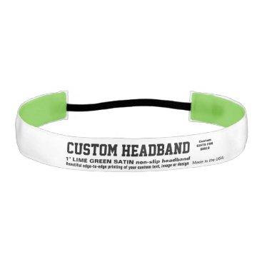 "USA Themed Custom 1"" Non-slip Satin LIME GREEN Headband"