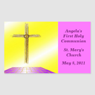 Custom 1st Communion Rectangular Sticker