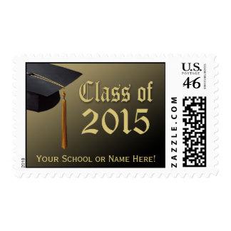 Custom 2015 Graduation Postage Black and Gold Cap