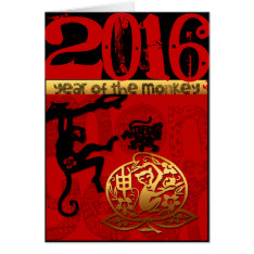 Custom 2016 Year Of The Monkey Chinese New Year Card at Zazzle