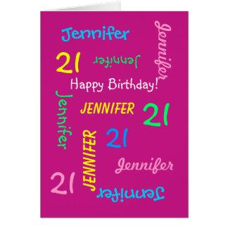 Custom 21st Birthday Card Any Name, Pink, Fun