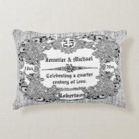 Custom 25th Silver Anniversary Monogram Decorative Pillow