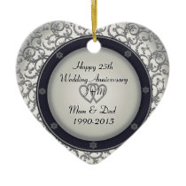 Custom 25th Silver Wedding Anniversary Ceramic Ornament