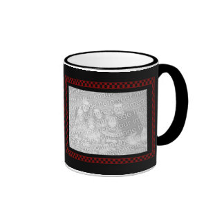 Custom 2 Instagram Photos Red Black Checkerboard Ringer Coffee Mug