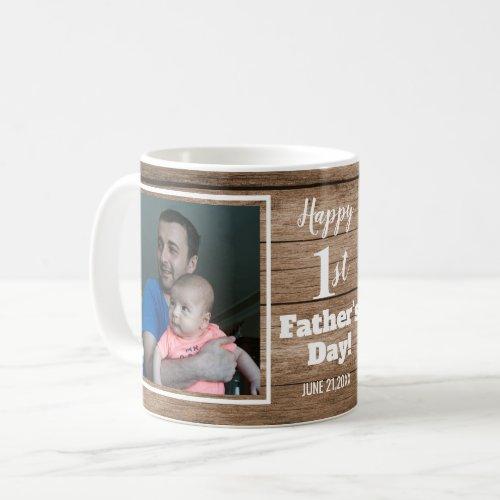 Custom 2 Photo 1st Fathers Day Rustic Wood Coffee Mug