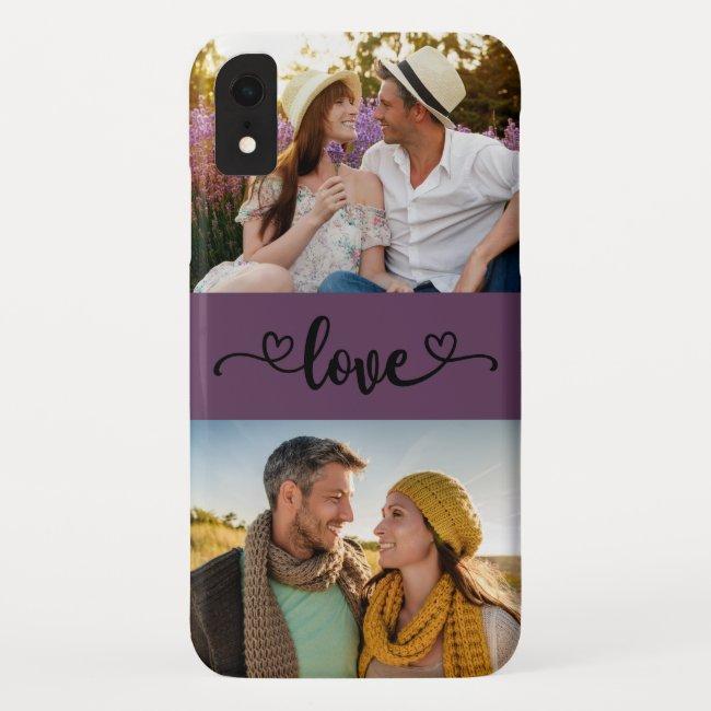 Custom 2 Photo Love Heart Calligraphy Purple Case-Mate iPhone Case