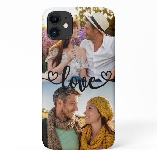Custom 2 Photo Love with Heart Calligraphy iPhone 11 Case