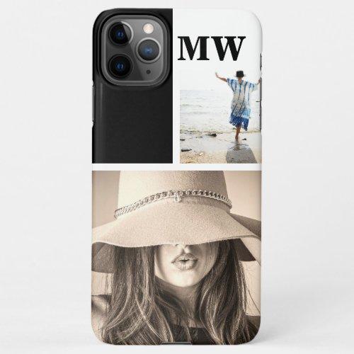 Custom 2 photo monogrammed initials collage Phone Case