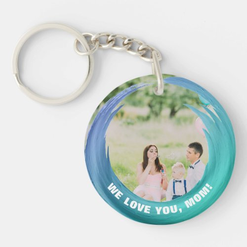 Custom 2 Photos  For Mom Aqua Turquoise Keychain