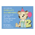 Custom 2nd Birthday Puppy Dog Personalized Announcement