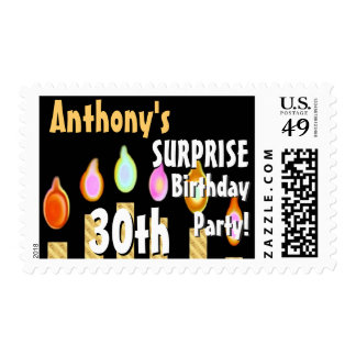 CUSTOM 30th - 39th Birthday Party Stamp - GOLD