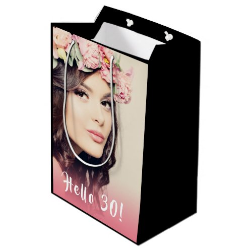Custom 30th birthday photo hello 30 thrity medium gift bag
