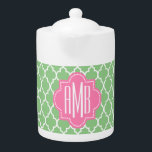 """Custom 3 initial monogrammed teapot<br><div class=""""desc"""">Cute three initial monogram,  e.g.Couple : Amanda Madison and Brandon Madison ... . Singles : The first letters of their first,  last and middle names. The surname is the centred largest font.</div>"""