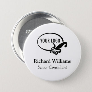 """Custom 3"""" Large Name Button Pin Company Conference"""