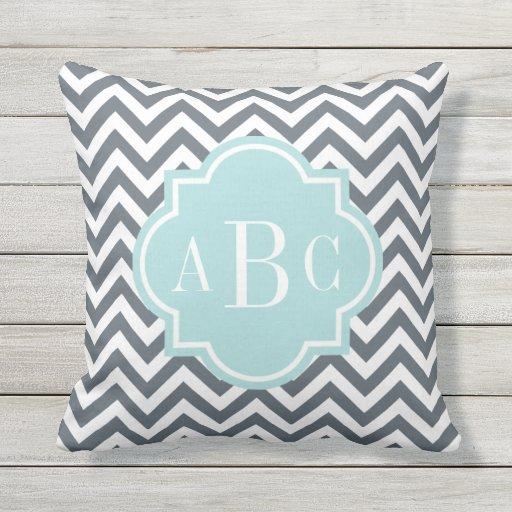 Monogram Letter Throw Pillow : Custom 3 letter monogram gray outdoor throw pillow Zazzle