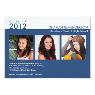 Custom 3 photo blue graduation class of invitation