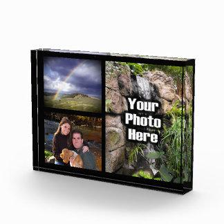 Custom 3 Photo Collage Acrylic Desk Block Acrylic Award