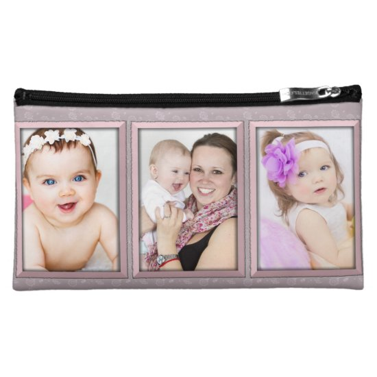 Custom 3 Photo Collage Medium Cosmetic Bag