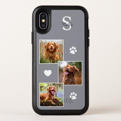 Custom 3 Photo Collage Stylish Gray Dog Phone Case
