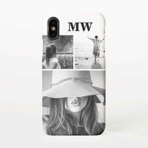 Custom 3 photo monogrammed initials black white Phone Case
