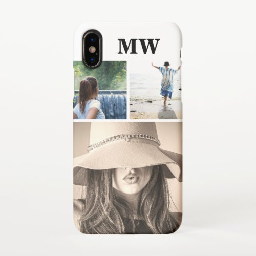 Custom 3 photo monogrammed initials Phone Case