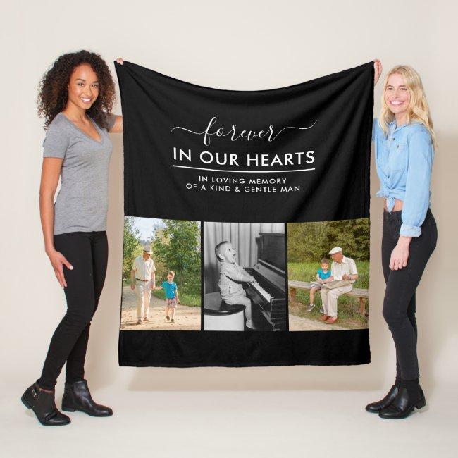 Custom 3 Photo White In Loving Memory Black Fleece Blanket