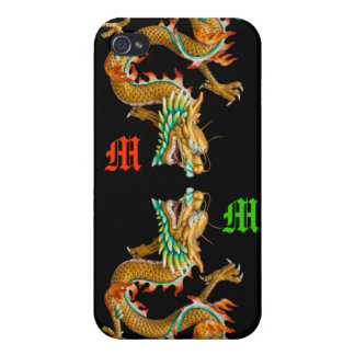 Custom 3D Dual Golden Dragon Case for IPhone 4