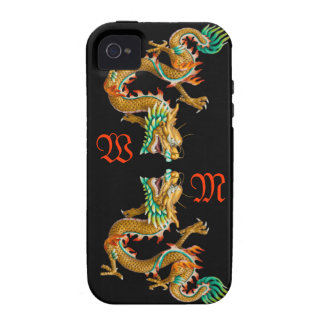 Custom 3D Dual Golden Dragons Case for Iphone 4 Case-Mate iPhone 4 Cover
