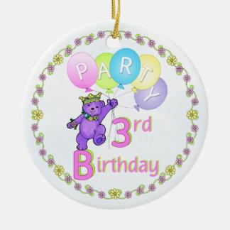 Custom 3rd Birthday Party Bear Princess Ceramic Ornament