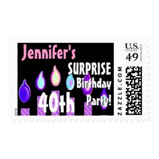 CUSTOM 40th - 49th Birthday Party Stamp - PURPLE