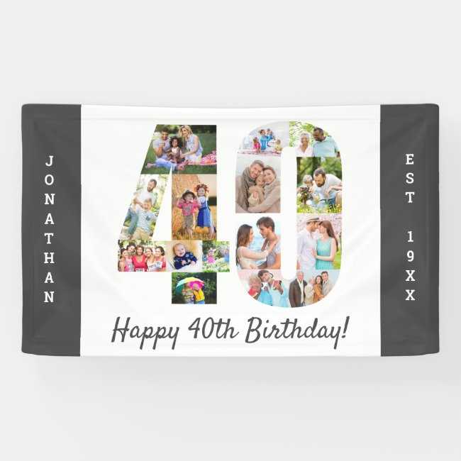 Custom 40th Birthday Party Photo Collage Banner