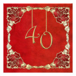 Custom 40th Wedding Anniversary Invitations